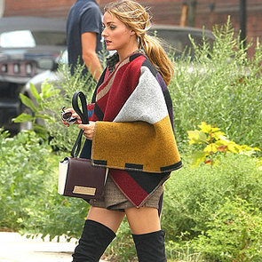 Celebrity Street Style Olivia Palermo Wearing Poncho, Boots