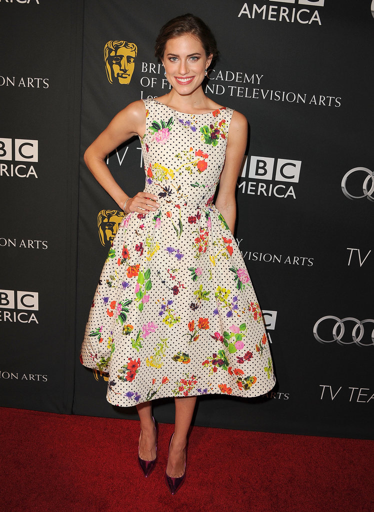 Allison's Oscar de la Renta dress was cute and quirky but not overwhelming. We love how her metallic pumps added an element of surprise.