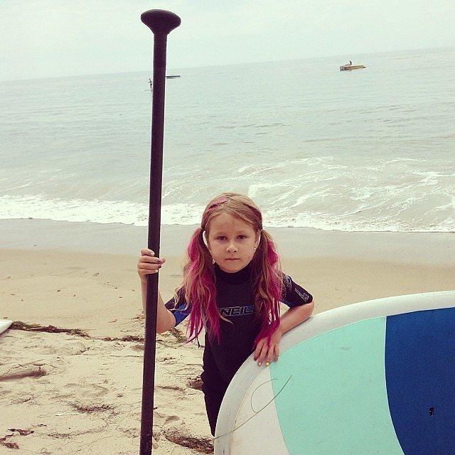Tori Spelling's daughter Stella learned how to paddleboard.  Source: Instagram user torispelling