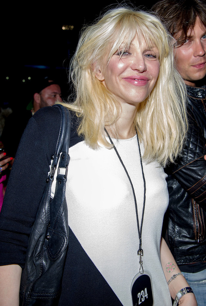 Courtney Love stopped by the D'Usse VIP section on Saturday.