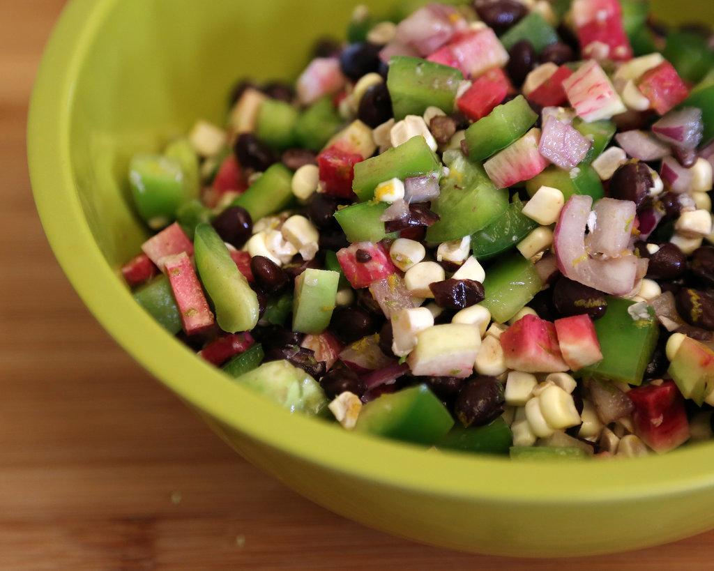 Black Bean, Corn, Radish, and Bell Pepper Chopped Salad