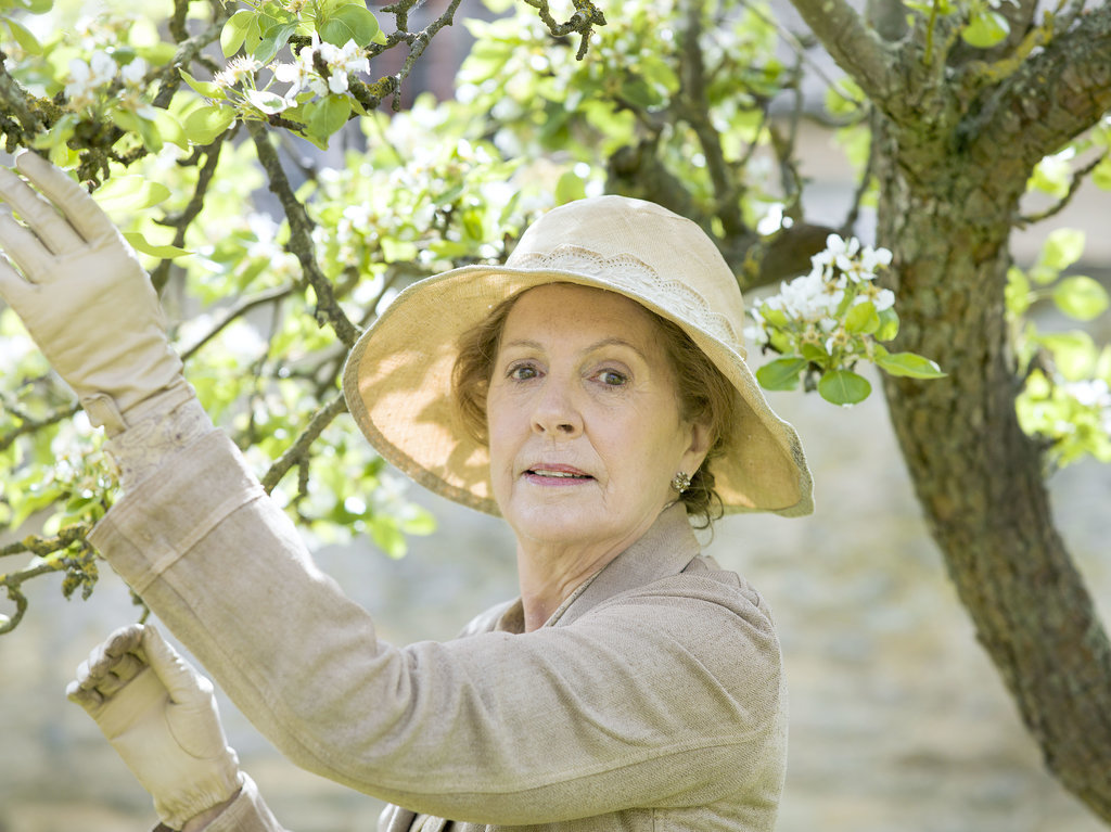 Isobel Crawley (Penelope Wilton) picks flowers from a tree.