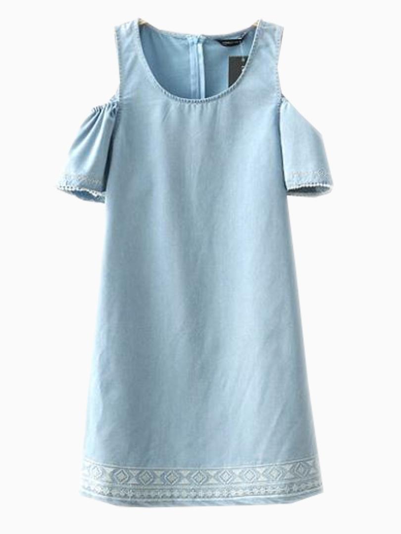 Choies Blue Denim Shift Dress