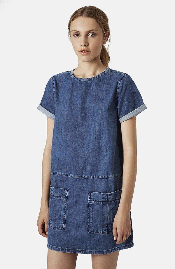 Topshop Moto Denim T-Shirt Dress