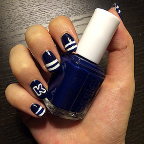 Varsity-Letter Nail-Art Design