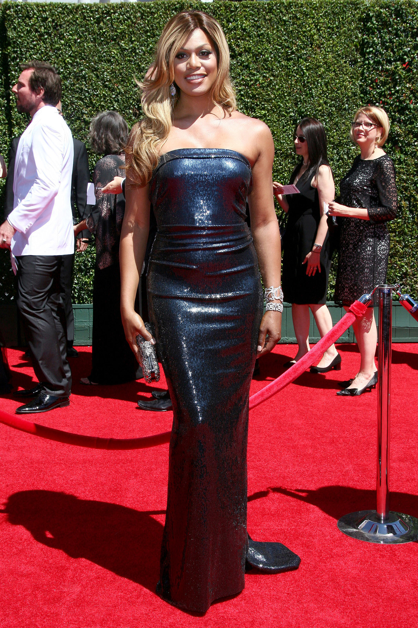 For the Creative Arts Emmys in August 2014, Laverne slipped into this shimmering strapless gown.