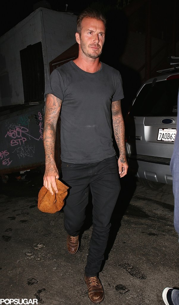 On Wednesday, David Beckham opted for a casual look to grab dinner with Gordon Ramsay in LA.