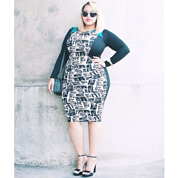 This bold-printed dress wasn't made for wallflowers, but the colorblocking and pattern cut a fierce hourglass shape.  Source: Instagram user gabifresh