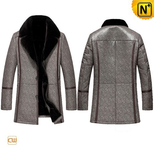 Leather Shearling Coat Mens CW851289