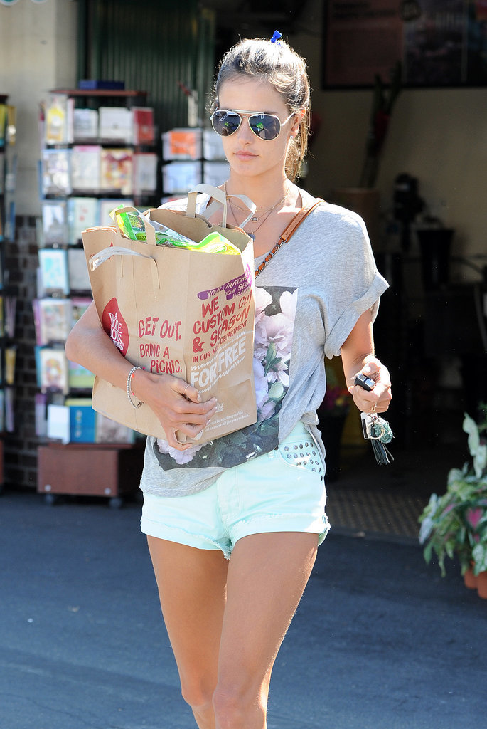 Alessandra Ambrosio stocked up on groceries in LA on Thursday.