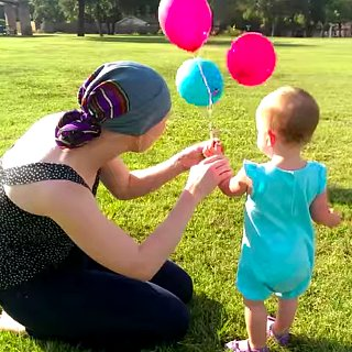 Toddler Says Goodbye to Pacifier With Balloons