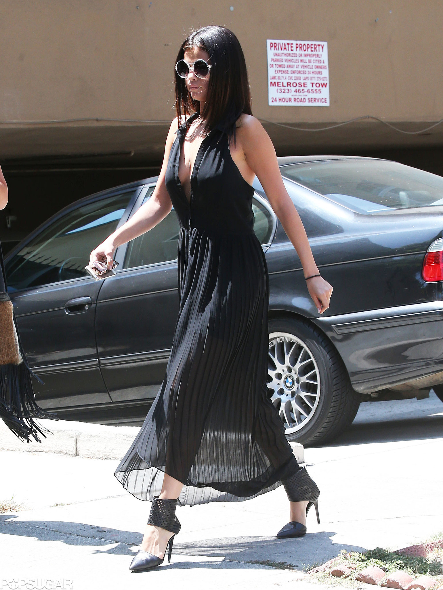 Selena Gomez donned a black dress when she stepped out in LA on Friday.