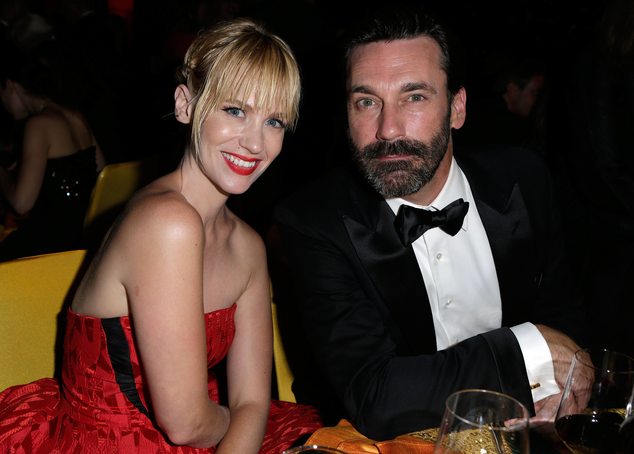January Jones and Jon Hamm met up inside the Governors Ball.