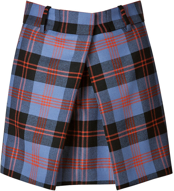 McQ Alexander McQueen Front Pleat Plaid Skirt