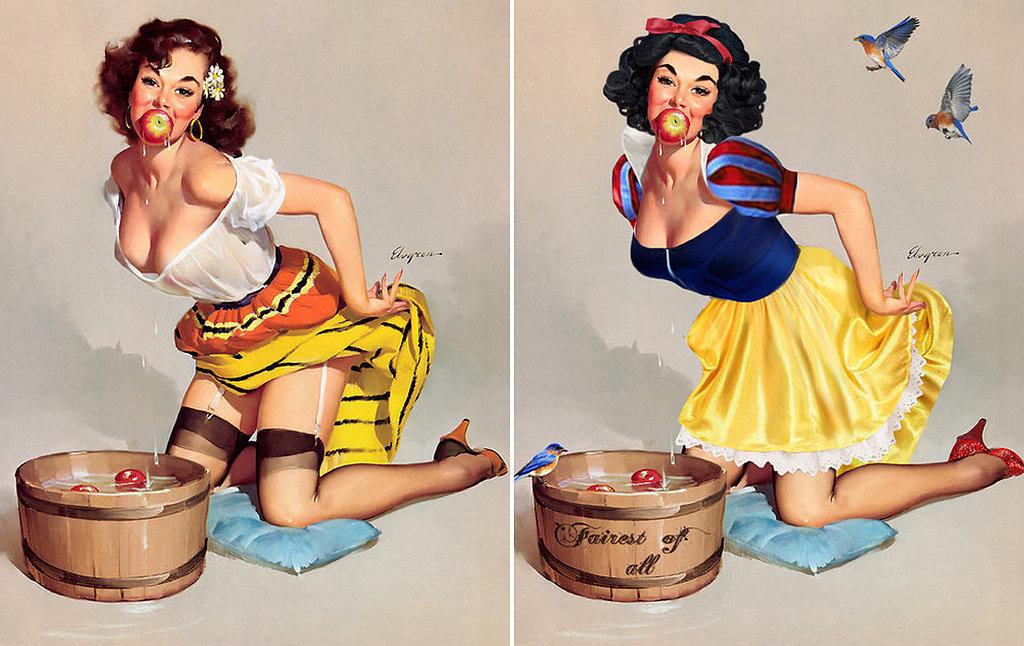 Artist Transforms Pinup Girls Into Disney Princesses