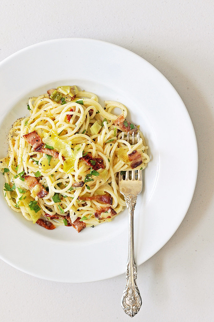 Pasta Carbonara With Leeks and Sundried Tomatoes