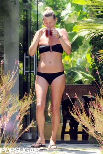 In August 2014, Kate Moss wore a black bikini during a trip to Turkey.