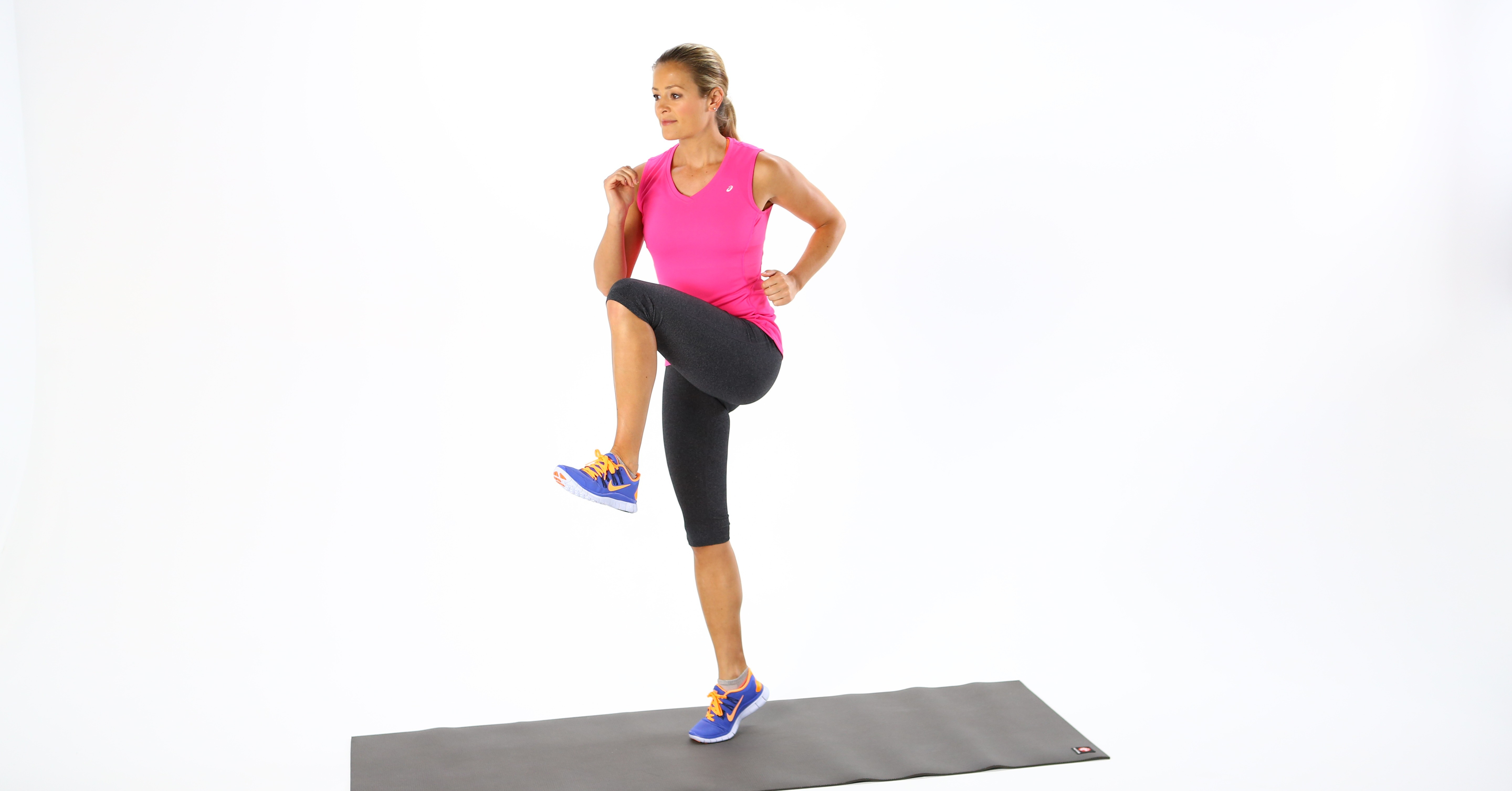 High Knees/Running in Place | This 7-Minute Workout Targets Belly Fat ...: www.popsugar.com/fitness/photo-gallery/30492060/image/30492593/High...