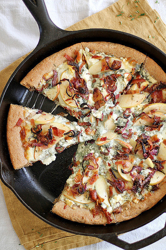 Caramelized Apple, Bacon, and Blue Cheese Pan Pizza