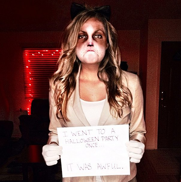 15 easy diy halloween costumes on a college budget her campus what you need to do around your eyes paint dark brown circles and use white makeup or face paint to make the rest of your face look a lighter color solutioingenieria Gallery