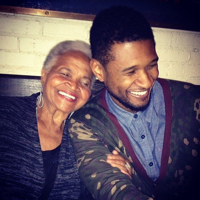 "Usher shared this heartwarming photo of himself and his ""Nanny"" on her birthday in February 2014."