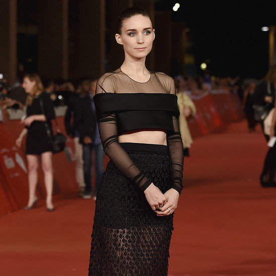 Rooney Mara Wearing Black Balenciaga Skirt And Top