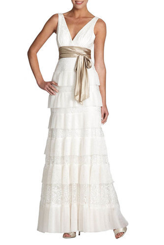 $178.00 BCBG CARLY TIERED LACE EVENING GOWN GARDENIA