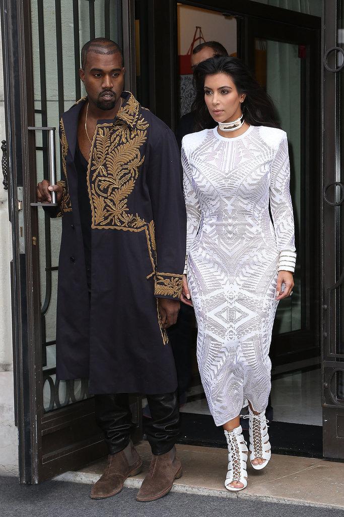 Kim Kardashian and Kanye West at Paris Fashion Week