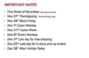 Key Holiday Sales Dates