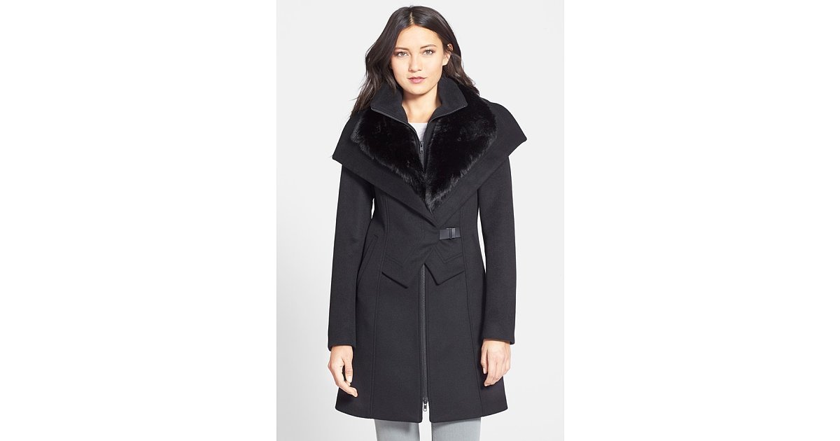 Fall fashion trends - Soia Amp Kyo Faux Fur Trim Wool Blend Coat With Inset Vest