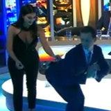 Kim Kardashian Teaches Rove to Balance Glass on Butt on TV