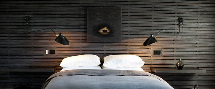 Who Needs a Headboard When You Have a Wood-Paneled Wall?