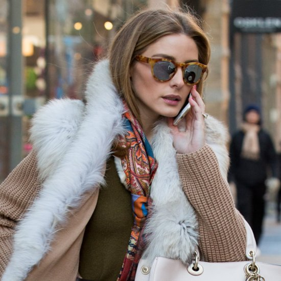 Olivia Palermo's Fur Sweater and Scarf Street Style