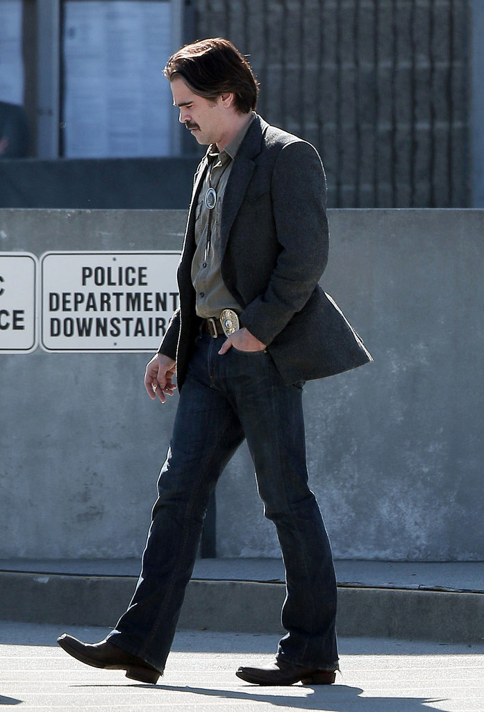 Colin Farrell walked on set in Los Angeles.