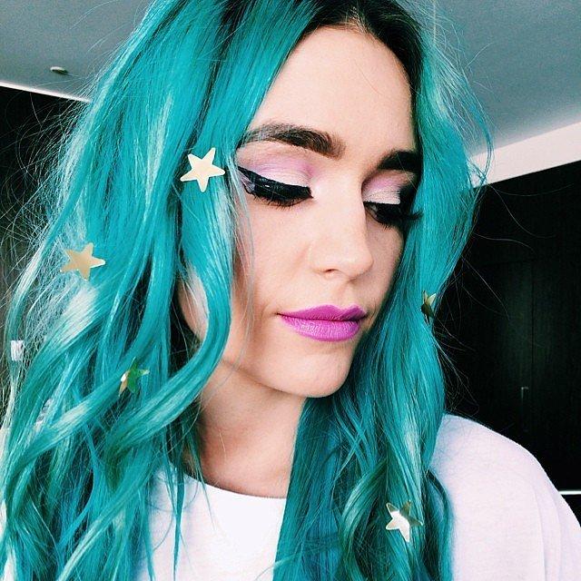 Amy Sheppard Instagram Turquoise Blue Hair Popsugar