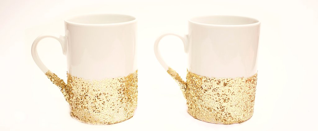 DIY Dishwasher-Safe Glitter-Dipped Mugs
