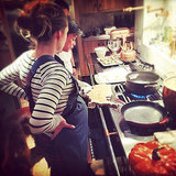 Pregnant Blake Lively Cooking in Her Kitchen
