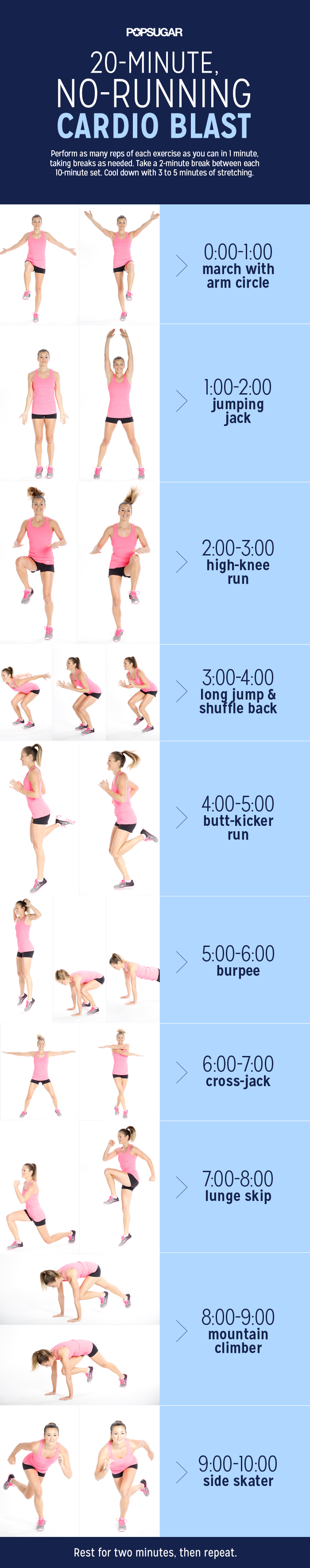 20 Minute At Home Cardio Workout With No Running Popsugar Fitness Australia