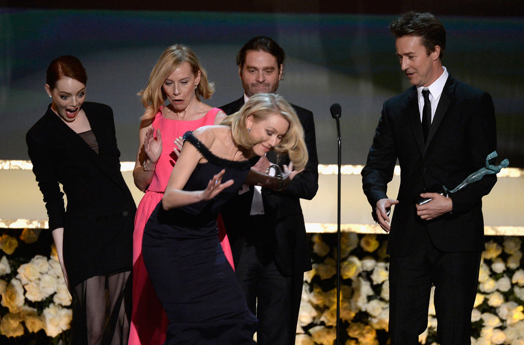 Emma Stone's face when she nearly tripped Naomi Watts on stage as they picked up the statue for Birdman in 2014.