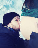 Justin Timberlake Kisses Pregnant Jessica Biel's Bare Baby Bump on 34th Birthday: Instagram Photo