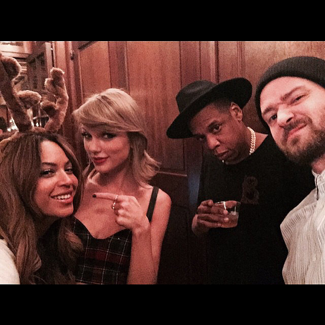 Oh hey, Beyoncé, Taylor Swift, Jay Z, and Justin Timberlake. Out of all the stars at Taylor's 25th birthday party, it looks like JT was the one wise enough to take a selfie. However, Taylor was the one who went public with it weeks later.