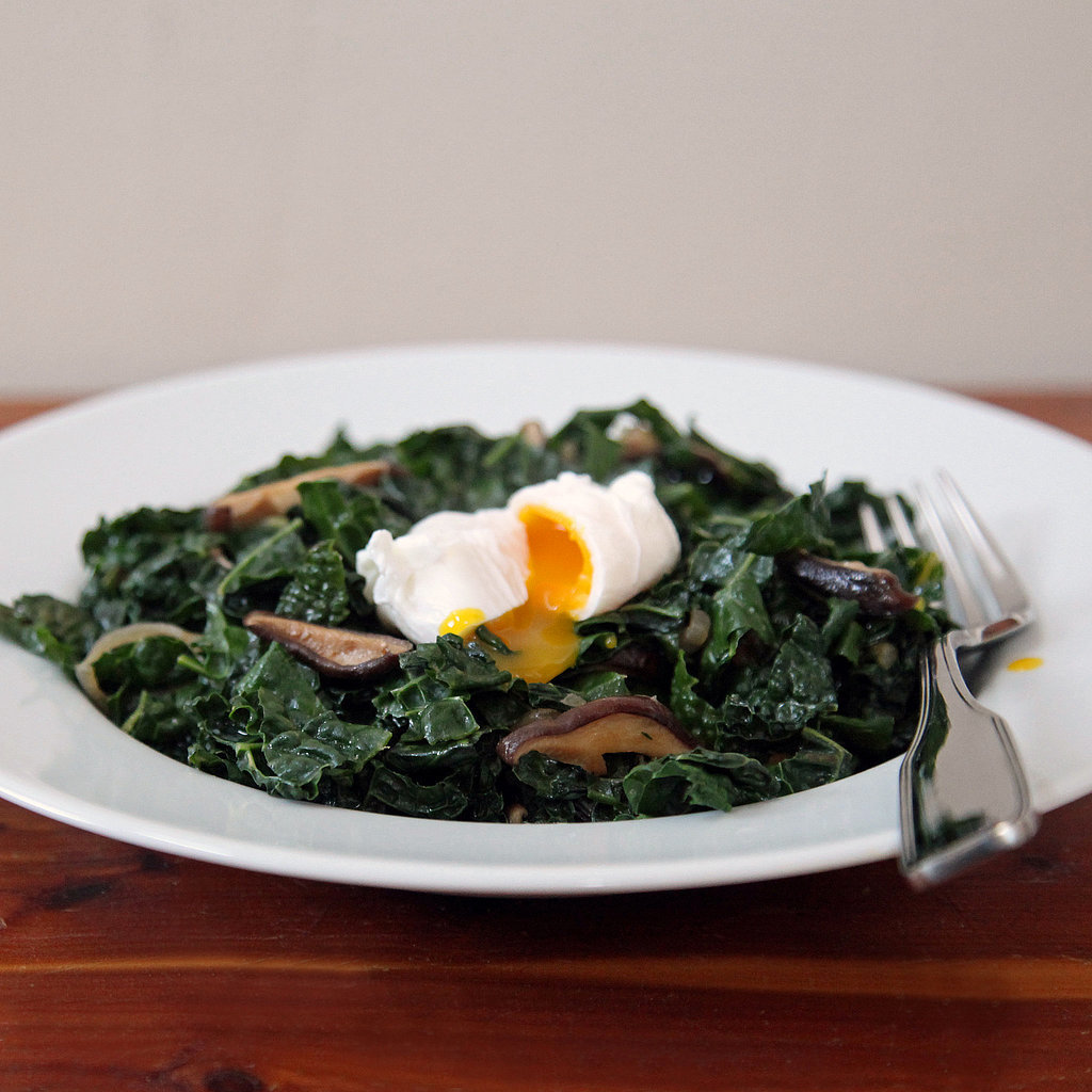 Miso-Glazed Kale and Shiitakes With Poached Egg