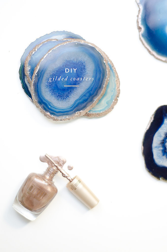 Who knew pairing cheap geode slices and metallic nail polish could look so expensive? See how this blogger created these DIY gilded coasters.