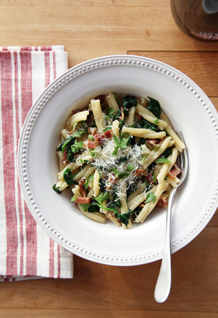Eggy Pasta With Spinach and Bacon