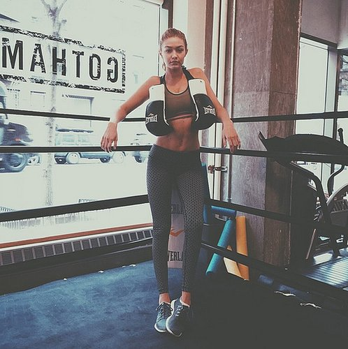 """Boxing is a big part of model Gigi Hadid's diet and fitness routine, and she makes fighting """"like a girl"""" look fierce!"""