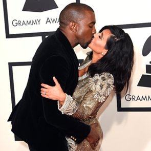 Kim Kardashian and Kanye West PDA at the 2015 Grammys