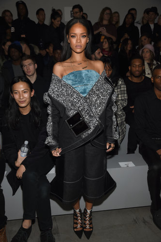 Rihanna posed next to Alexander Wang while she waited for the Adidas Originals x Kanye West Yeezy show to start.