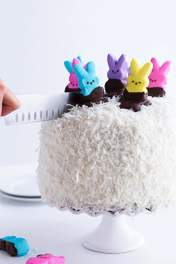 Coconut Chocolate Cake With Peeps