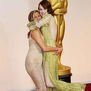 Emma Stone and Jennifer Aniston Hugging at 2015 Oscars