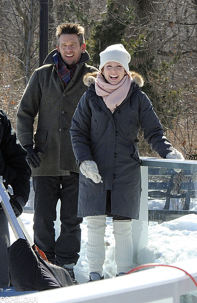 On Tuesday, Julianne Moore and Ethan Hawke laughed on the NYC set of Maggie's Plan.